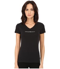 Emporio Armani Essential Stretch Cotton V Neck Tee Black Women's T Shirt
