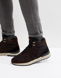 Armani Jeans Logo Lace Up Boots In Brown Black Black.Brown