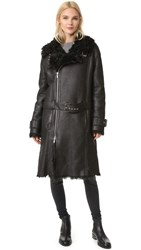 Blk Dnm Leather Coat 21 Black