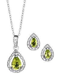 Victoria Townsend Sterling Silver Jewelry Set Peridot 1 1 5 Ct. T.W. And Diamond Accent Teardrop Pendant And Earrings Set