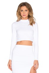 Donna Mizani Mock Neck Long Sleeve Crop Top White