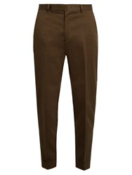 Paul Smith Tapered Leg Cotton And Linen Blend Trousers Khaki