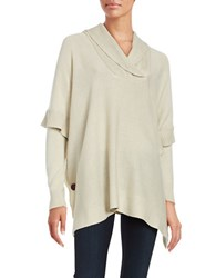 Design Lab Lord And Taylor Knit Poncho Sweater White Beach