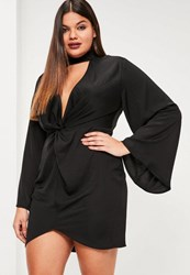 Missguided Plus Size Black Hammered Satin Tab Neck Dress