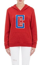 The Elder Statesman X Nba Women's Los Angeles Clippers Logo Cashmere Hoodie Red