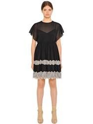 Red Valentino Stretch Silk Muslin And Lace Dress