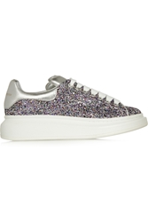 Alexander Mcqueen Glitter Finished Leather Wedge Sneakers