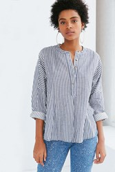 Bdg Taylor Striped Button Front Shirt Navy
