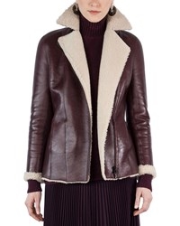 Akris Punto Shearling Lined Notch Collar Coat Wine