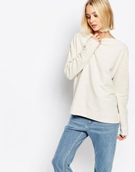 Selected Crystal Top In Textured Sweat Cream