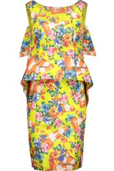 Moschino Neon Floral Print Cotton Blend Taffeta Dress Multi