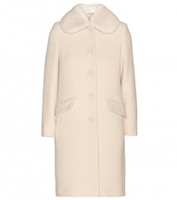 Miu Miu Fur Trimmed Wool Blend Coat White