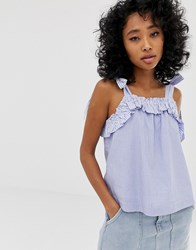 Pepe Jeans Miley Frill Vest Top Blue
