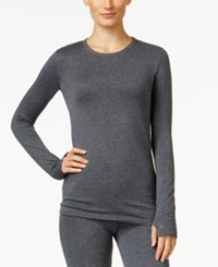 Cuddl Duds Comfortwear Long Sleeve Crew Thumbhole T Shirt Dark Heather