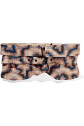 Isabel Marant Leni Printed Cotton And Linen Blend Waist Belt Beige