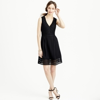 J.Crew Tall Striped Eyelet Dress Black