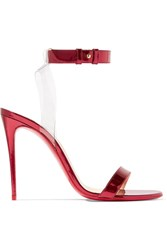 Christian Louboutin Jonatina 100 Pvc Trimmed Mirrored Leather Sandals It40.5