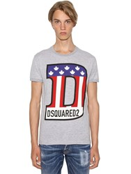 Dsquared Printed Chic Dan Cotton Blend T Shirt Heather Grey