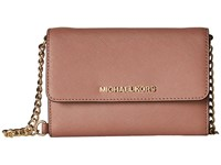 Michael Michael Kors Jet Set Travel Large Phone Crossbody Dusty Rose Cross Body Handbags Pink