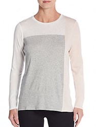 Vince Colorblock Pima Cotton And Modal Long Sleeve Tee Grey Multi