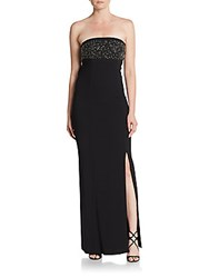 Laundry By Shelli Segal Embellished Strapless Drape Back Gown Black