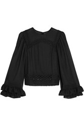 Mcq By Alexander Mcqueen Ruffled Broderie Anglaise Cotton Trimmed Crepe Top Black