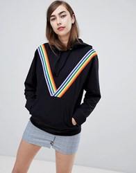 Daisy Street Hoodie With Chevron Rainbow Stripe Black