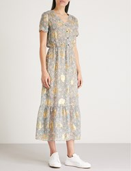The Kooples Western Flower Print Silk Blend Maxi Dress Grn01