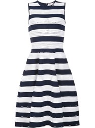 Carolina Herrera Striped Knit Dress Blue