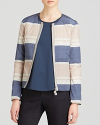 Armani Collezioni Jacket Color Block Stripe Blue Multi