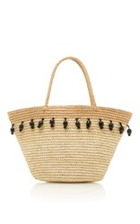 Sensi Studio Beaded Canasta Tote Tan