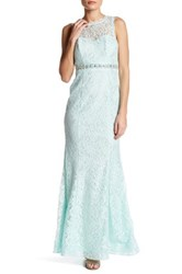 Sequin Hearts Embellished Lace Gown Blue