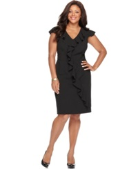 Spense Plus Size Cap Sleeve Banded Waist Ruffle Dress Black