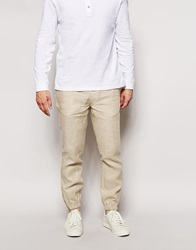 Asos Slim Fit Joggers In Linen Stone