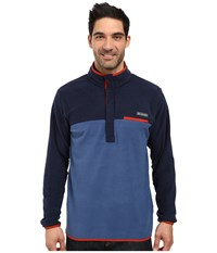 Columbia Mountain Side Fleece Jacket Night Tide Collegiate Navy Rust Red Men's Coat Blue