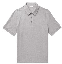 Brioni Herringbone Cotton Jersey Polo Shirt Gray