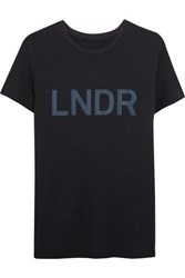 Lndr Printed Cotton Jersey T Shirt Navy