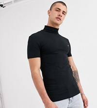 Heart And Dagger Short Sleeve T Shirt With Roll Neck Black