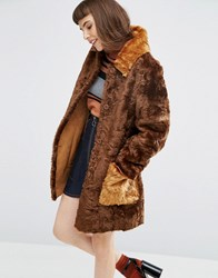 Asos A Line Coat In Faux Fur With Contrast Pockets Brown