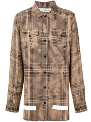 Off White Plaid Shirt Brown