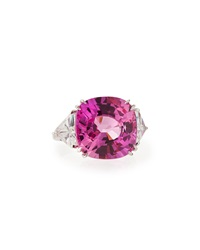 Fantasia Cushion Cut Pink Tourmaline Cocktail Ring 6