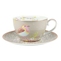 Pip Studio Early Bird Cappuccino Cup And Saucer Khaki