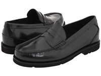 Rockport Oak Knoll Shakespeare Circle Black Brush Off Leather Men's Slip On Dress Shoes