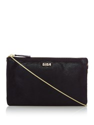Biba Multi Compartment Leather Pochette Black