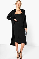 Boohoo Bandeau Dress And Duster Co Ord Set Black