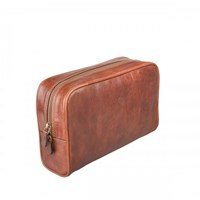 Maxwell Scott Bags Chestnut Tan Leather Wash Bag For Ladies