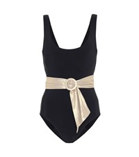 Karla Colletto Brooke Belted Swimsuit Black