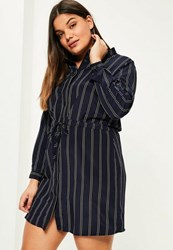Missguided Plus Size Navy Striped Draw String Shirt Dress