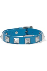 Valentino The Rockstud Embellished Leather Bracelet Azure