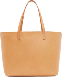 Mansur Gavriel Camel And Silver Leather Large Tote